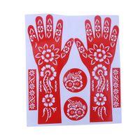 Wholesale Temporary Tattoo Stencil Sheets - Wholesale- 1 Sheet Hot India Henna Temporary Tattoo Stencils For Hand Leg Arm Feet Body Art Decal 23*27cm