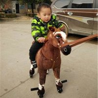 Wholesale Toy Moving Animal Doll - Fancytrader ride on horse plush toy with wheels stuffed animals moving horse doll for kids 80cm 31inch