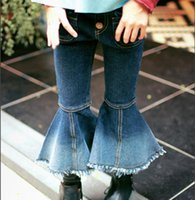 Wholesale Korean Brand Boots - 2017 new arrival girls denim trousers thick flare pant autumn winter Korean style girls jeans D57