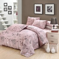 Wholesale Twin Lovely - Wholesale- Cartoon lovely Tower pattern bedding sets pink linen Egyptian cotton Queen twin Full Double King size duvet cover set pillowcase