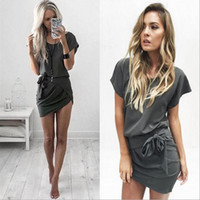 Wholesale Touch S Line - New arrival Women's dress short sleeves Wasp-waisted Scoop neck Sexy style Milk silk Soft touch Summer clothing Best choice