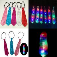 Wholesale Kids Party Ties - LED Luminous Sequin Neck Ties Kids Adult Changeable Colors Necktie Led Fiber Tie Fashion Xmas Party Decorations WX-C18