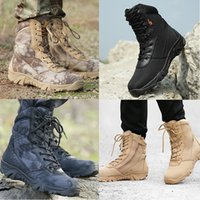 Wholesale Boots Tactical Khaki - Tactical American SWAT Boots Wearable High Quality Combat Outdoor Army Hiking Travel Botas Shoes Leather Autumn Ankle Boots Winter Boots Men