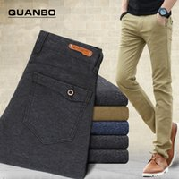 Wholesale New Comfort Pants - Wholesale-New autumn and winter woolen sanding casual comfort stretch pants Slim casual men's fashion solid color straight jeans child