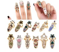Wholesale Nail Crystal Charms - Fashion Rhinestone Cute Bowknot Finger Nail Ring Charm Crown Flower Crystal Female Personality Nail Art Rings