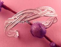 Wholesale Elegant Bracelet Sterling Silver - Wholesale-Sweet design Fashion Women Female Jewelry shiny elegant silver Bangles Cuff Bracelets for gifts