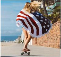 ingrosso beachwear americano-50 Pz Round Quadrate Bandiera Americana Modello Asciugamano da spiaggia Bikini Cover Bohemian Beachwear Beach Sarongs Scialle da bagno Asciugamano Yoga Mat