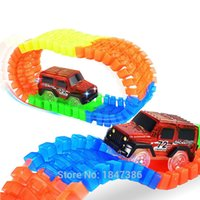 Wholesale Toy Rail Cars - 56PCS Diecast DIY Puzzle Toy LED light up race cars Roller Coaster Track glowing Electronics Toy Flex Rail Car Toy for Children