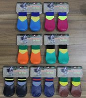 Wholesale Socks Pieces - 4 piece lot Rubber Dog Socks Outdoor Waterproof Pet Socks Dog Socks Puppy Clothes Small Dog Clothes Pet Apparel 87