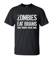 Wholesale Blue Brains - Camping T-Shirts Men's New Arrival T-Shirt Zombies Eat Brains Don't Worry You're Safe Summer Short Sleeve Streetwear Tee Casual Hip Hop Tops