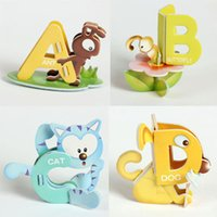 Wholesale Collage Children - Wholesale- 26Pcs lot 3D Puzzles 26 Letters Jigsaw Puzzle Kids English Learning Education Toy Children Cartoon Animal Alphabet Collage