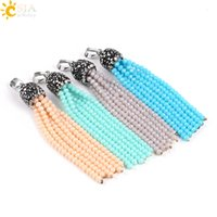 Wholesale Glass Pendant Earring Beads - CSJA 19 Mixed Color Shinning Glass Crystal Loose Beads Tassel Charms Pendant for Necklace Earring Women Jewelry DIY Making Boho Style E605 A