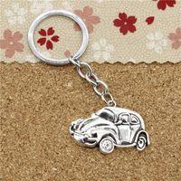 Wholesale Beetle Pendant - 15pcs Fashion Diameter 30mm Metal Key Ring Key Chain Jewelry Antique Silver Plated car vw bug beetle herbie 39*26mm Pendant