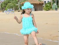 Wholesale Large Children Hats - Girl Bikini Suit Lace Flowers Children Girl Swimwear Beach Kids Swimwear Cute Girls One-piece swimsuit With Hat