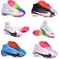 Original Mercurial Superfly V FG Bottes de football homme High Ank ACC Soccer Chaussures Soccer Cleats Bottes Red White