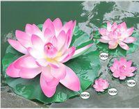 ingrosso serbatoio di loto-Diverse dimensioni EVA Artificiale Fiore di loto Piscina di acqua Serbatoio di pesce Decor Piante Forniture artigianali per la decorazione domestica