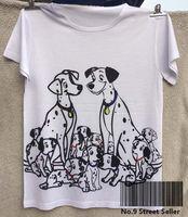 Wholesale Woman Track Shirt - Track Ship+New Vintage Retro Cool Rock&Roll Punk T-shirt Top Tee Warm Sweet Spotty Dalmatian Dog Family Couple 0314