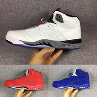 Wholesale Mens Cream Suits - 2017 Air Retro 5 red suede Flight Suit West East Cement white blue Mens Basketball Shoes , high quality sports shoes sneakers eur 41-47