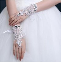 Wholesale Satin Wedding Gloves Short - Sparkling Crystals Short Bridal Gloves Bling Bling Beads Wedding Glove Fingerless Whte Brides' Accessories Wrist Length Cheap Price 2017