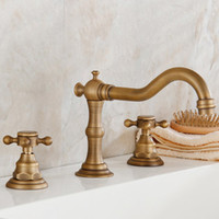 Wholesale Antique Brass Faucet Shower - Antique Brass Shower Faucet Antique Core Valve Faucet Nickle Core Valve Shower Taps Hot And Cold With 2 Handles 2 Holes DHL Shipping