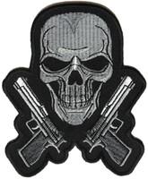 siyah metal kafatasları toptan satış-Siyah ve Beyaz Guns ve Kafatası Metal İşlemeli Demir On DIY Aplike Geri Yama-3.5 * 4.25 INÇ Ücretsiz Kargo