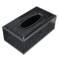 Wholesale Tissue Rectangle Cover - Wholesale- GSFY-Durable Home Car Rectangle PU Leather Tissue Box Paper Holder Case Cover Napkin(black Crocodile Grain)