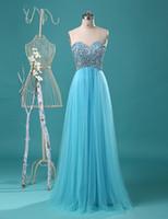 longo tulle vestido de baile decote querida venda por atacado-Frisado decote Tulle A Linha de vestido de baile 2018 New longas Prom Vestidos Custom Made vestido formal