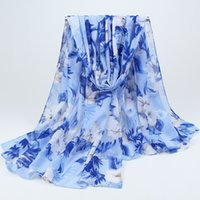 nuevas hermosas bufandas al por mayor-Al por mayor-Nueva moda bohemia Beach Voile bufanda larga suave mujeres hermosas flores impresas abrigo chal bufandas 017