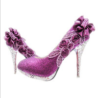 zapatos de boda sexy cristales al por mayor-Bombas de mujer sexy Glitter Boda magnífica fiesta de noche nupcial de cristal Tacones altos Zapatos de mujer Zapatos de novia de moda