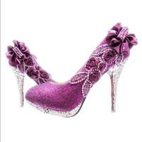 kristal stiletto düğün ayakkabıları toptan satış-Seksi Kadın Glitter Muhteşem Düğün Gelin Akşam Parti Pompalar Kristal Yüksek Topuklu Kadın Ayakkabı Moda Gelin Ayakkabıları