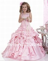 Wholesale Dress 77 - Pink Halter Ruffle Satin Beautiful Custom Cute Little Flower Girl Dress Floor Length Flowers Bows Kids Prom Birthday Dress 77
