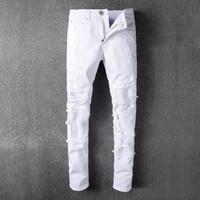 Wholesale Punk Rock Pants Zippers - White Distressed Ripped Jeans For Men Brand Designer JUSTIN BIEBER Motorcycle Biker Denim Men's Slim Pant Rock Star Punk Hip Hop Mens Jeans