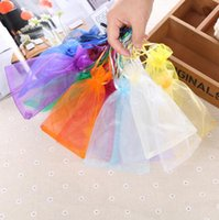 Wholesale Transparent Pouch Gift - 10x15 cm Multicolor transparent gift organza bags Pearl yarn snow yarn bundle pocket