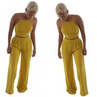 Wholesale Women Fashion Two Piece Suit Summer New Sexy Nightclub Tight Halter Sleeveless Yellow Short Top And Wide Leg Pants Two Piece Suits