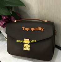 Wholesale Genuine Leather Messenger Handbag Women - Top quality Free shipping genuine real leather women's handbag pochette Metis shoulder bags crossbody bags messenger bag M40780 purse