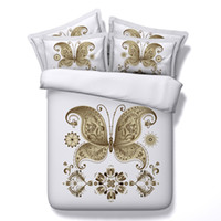 ingrosso farfalla comforter piena-Bianco dorato Farfalla 3D stampato Bedding Set Twin Full Queen King Size tessuto cotone copridivano Copricuscino Cuscini shams Consolatore Fashion Design