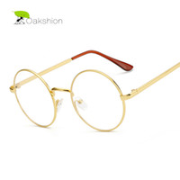 Wholesale Korean Gold Glasses Frames Nerd Glasses Eyeglasses Frame Metal Optical Glasses Round Retro Female Clear Lens Transparent Eyewear