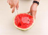 cantaloupe slicer großhandel-Watermelon Slicer Server perfekte Edelstahl Obst Cutter und Corer leicht Scheiben Cantaloupe Scoop Kitchen Gadget