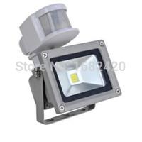 freies solar-flutlicht großhandel-Wholesale-Free Verschiffen 12V 10W Eingangs-PIR LED Flutlicht für Sonnensystemgarage für Sicherheit mit Bewegungs-Sensor-Zeit Lux justieren