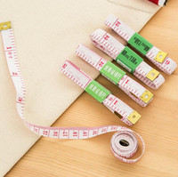 Wholesale Tailoring Sewing Tape Measure - 150cm length measuring tools multifunctional soft plastic tape measures sewing tailor fitness measuring body feet ruler gauging tools