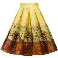 Wholesale women flower tutu - Gold Autumn Pleated Skirt Dress 1950s Retro Rockabilly Hephurn High Waist Flower Print Pleated Midi Dress Cute Tutu for Women Ladies Girls