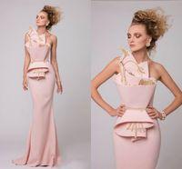 vestidos de noche de oro rosa al por mayor-Vestidos de fiesta de la sirena del rosa del diseño único con bordado de oro Vestidos de noche sin respaldo acanalados del satén Vestido de fiesta largo árabe del desgaste de Arabia Saudita