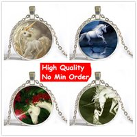 Wholesale Cheap Christmas Gifts Free Shipping - 6 Style Vintage Art Horse Unicorn New Fashion High Quality Cheap Unisex Chain Necklace Manufacturer Free Shipping Christmas Gift NS006