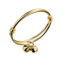 ingrosso campane di braccialetti del bambino-Hotsale regolabile bambino bambini braccialetti allergia libero 18 k placcato oro giallo braccialetto braccialetto per bambini bambini con campanelle BR-093