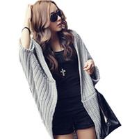 Wholesale Knit Shawl Large - Wholesale-New Korean Ladies Irregular Bat Sleeve Loose Long Sweater Coat Shawl Women Casual Large Size Cardigan Poncho sweter mujer JY-666