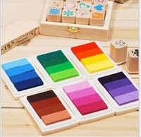 Wholesale Ink Pads For Stamps - DHL Free shipping 100pcs ink pad color gradual change inkpad for stamp