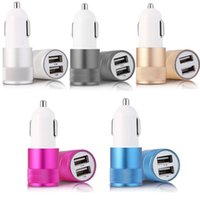 Cables Usb Dobles Baratos-Mini material de aluminio Dual 2 usb Port Universal USB Car Charger Cable Adapter para iphone 4 5 6 7 plus para samsung s3 s4 s5 s6 s7 s8 gps mp3