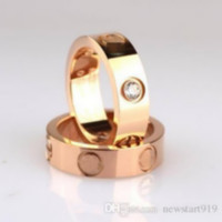 Wholesale Screwed Rings - titanium steel love screw ring silver rose gold ring for lovers 6mm width