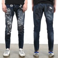 Wholesale Graffiti Skinny Jeans - Graffiti Jeans Man Bleach Wash Slim-Fit Mid-Rise Printed Monster Fade Effect Denim Pencil Pants Cool Guy Cowboy
