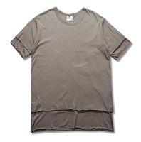 Wholesale Double Layer Shirts - New Fashion Pure T-shirt Top quality Wholesale Extended Long Double Layer False Two-piece T-shirt Hip Hop Cotton Men Tops kancye boy